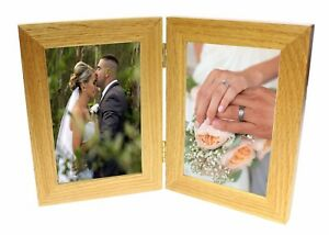 "2 Picture Double Oak Wooden Multi Aperture Collage Photo Frame 4 x 6"" Christmas"