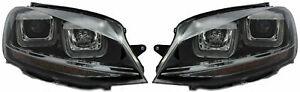 Rhd For VW Golf Vii Mk7 2012-17 Black U DRL LED Projector Headlights R-LINE