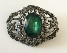 Large Antique Green Glass Victorian Jewel Pierced Metal Odd Shape Button Old