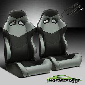Pair Black PVC Main Grey Side Racing Seats With Single Adjustor+Single Slider