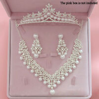 Elegant Crystal Pearl Diamond Crowns Tiaras Sets for Wedding
