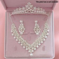 Elegant Crystal Pearl Diamond Crowns Tiaras Sets for Wedding