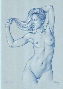 original drawing A3 218MS art by samovar sketch female nude pastel Signed 2021
