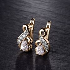Gorgeous Infinity Gift 18K Gold Filled Pear White Crystal CZ Cute Hoop Earrings