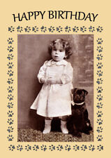 PUG CUTE DOG AND LITTLE GIRL DOG BIRTHDAY GREETINGS NOTE CARD