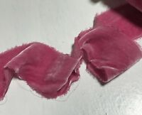 Hand Dyed Rose Pink Silk Velvet Ribbon ( 3 Widths to choose from)