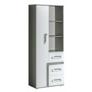 """SHADES OF GREY - APETITO"" 1 Door 3 Drawer Storage Unit / Bookcase"