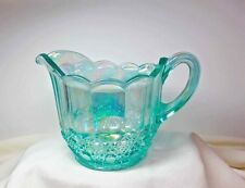 FENTON Open Pitcher Opalescent Blue Carnival Art Glass Collectible