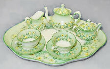 CROWN STAFFORDSHIRE GREEN DAISYS FLORAL 10 PIECE MINI / MINIATURE TEA SET MINT