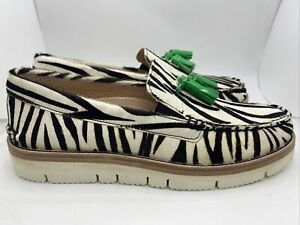 Sperry Top-Sider Authentic Original Tassle Loafers STS22885 Zebra Print Sz 8.5