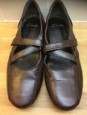 Ladies Shoes Size 7 Clark's Brown Freeflex Flat Good Condition
