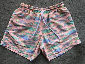 "Chubbies Men's Fish Swim Trunks Medium 5"" Liner Shorts Peach Orange Aztec"