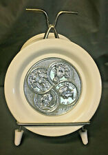 8 Plastic Drink Coasters W/ Stand Off White and Faux Silver Coins