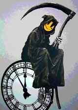 Banksy Grin Smiley Reaper Clock A3 Photo Print Poster