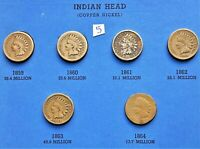 1859-1864 COPPER NICKEL INDIAN HEAD CENTS, PENNY, 6 COINS #5