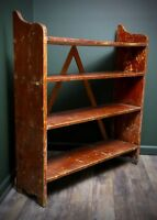 antique vintage Primitive Bucket Bench Wood shelf storage rack French blankets