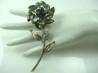 Vintage Smoky Gray Blue Rhinestone Silver Tone Flower Pin Brooch