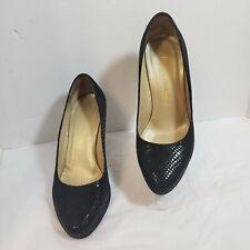 Russell Bromley Black Embossed Snake Print Heels Pumps Platform Size EU 37 US 7