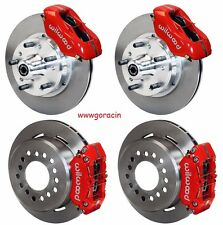 "WILWOOD DISC BRAKE KIT,1970-1973 FORD MUSTANG,11"" Rotors,4 Piston RED CALIPERS"