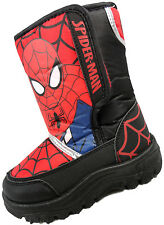 Boys Childrens Spiderman Winter Snow Boots Spider Man Web Red Black Shoes