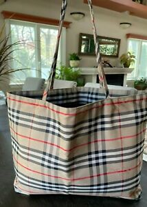 Authentic Burberry Nova Plaid Cotton Canvas Tote Bag Purse - Lined