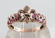 DIVINE 9CT 9K ROSE GOLD RUBY DIAMOND ART DECO INS CREST RING FREE RESIZE