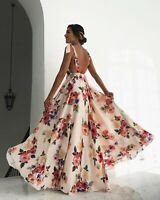Womens Sexy Halter Backless Maxi Dress Beach Holiday Printed Floral Skirt Boho