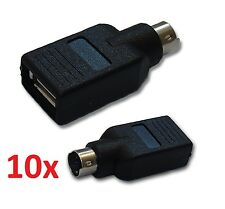 10x PS2 MALE / USB FEMALE ADAPTER CONVERTER MOUSE KEYBOARD 6 PIN WINDOWS MAC