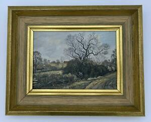 EDWARD STAMP RI Oil Painting HEDGE LAYING AT CUBLINGTON BUCKINGHAMSHIRE 1975