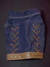 DOG CANINE DENIM AND FAUX LEATHER JACKET WITH STRING TRIM DESIGN 12 INCH