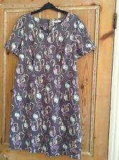 Whitestuff brown short sleeve dress featuring vases size 12