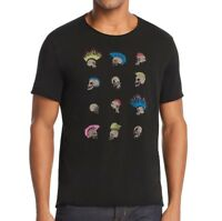 John Varvatos Men's Short Sleeve Rows of Skull Hawks Graphic Crew T-Shirt Black
