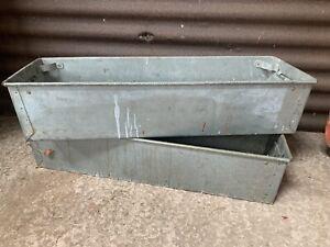 Vintage industrial metal storage tote box planter large