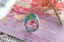 French Pink Rose Ring - Rockabilly Vintage Style Pink Rose Flower Teardrop Ring