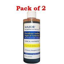Major Providone Iodine, Solution, 10%, 8 Fluid Ounces Per Bottle (2 Bottles)