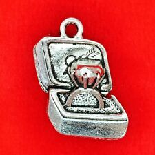 6 x Tibetan Silver  Engagement Diamond Ring in a Gift Box Wedding Charms Pendant