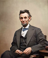Dream-art hand paint Oil painting male portrait America President Lincoln seated