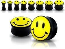 New Smiley Face Ear Plug Flesh Tunnel Stretcher 3mm 4mm 5mm 6mm 8mm 10mm Black