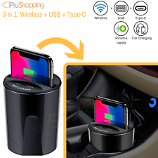 3 IN 1 Chargeur Wireless Auto QI 10W USB Type-C pour IPHONE X XS Samsung S8 S9