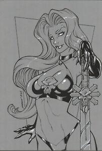 LADY DEATH 2 SEXY INK UNIQUE PINUP ART - ORIGINAL COMIC PAGE BY MANU