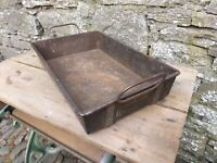 Vintage Steel Industrial Tote Tray with Folding Handles