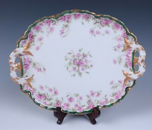 Haviland Limoges Pink Roses & Flowers Double Handled Small Platter Tray w/ Gold