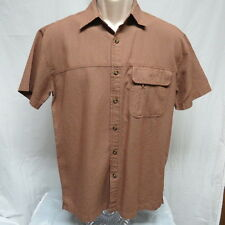 Magellan Navigator Brown Textured Squares Fishing Shirt Size S