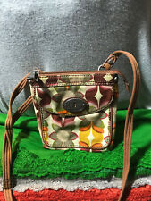 Fossil Key Per Multi-Color Floral Coated Canvas Credit Card Snap Zip Crossbody
