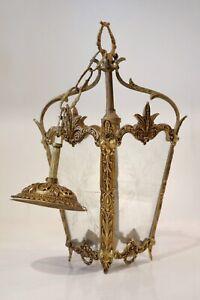 Vintage French Gilt Brass Pendant Lantern Porch/Ceiling Light Etched Glass Panes