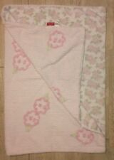 Amy Coe Roses Baby Blanket Pink White Green Ribbed Cord Flowers Cotton Lovey