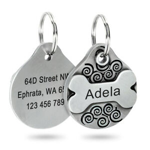 Personalized Dog Tags Engraved Cat Puppy Pet ID Name Collar Tag Bone Customized