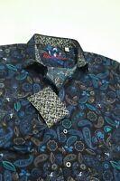 Robert Graham Men's M Colorful Paisley Floral Print Sport Shirt Black Blue NWT