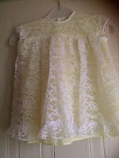 "Vintage 1950,60s,baby,lemon lined lace,short sleeve dress,size 16"" Made England"