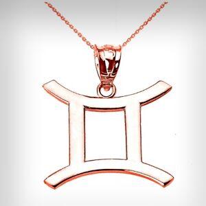 14K Rose Gold Gemini (May 21-June 20) Zodiac Sign Pendant Necklace